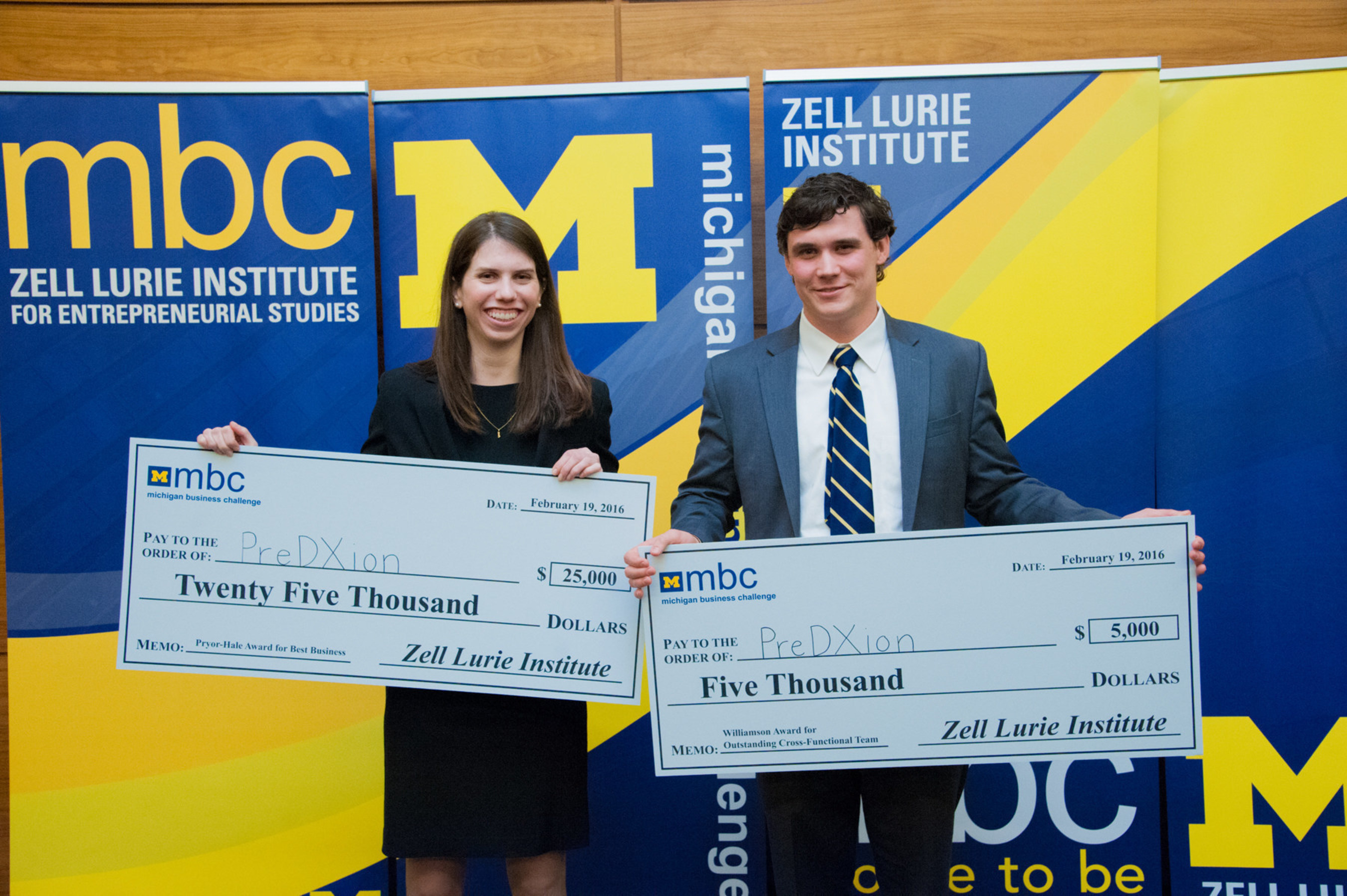 Caroline Landau (MBA '16) and Walker McHugh (MSE '17), winners of the Michigan Business Challenge for their most promising student startup PreDxion, which has created a groundbreaking, patent-pending diagnostic near-bedside device that rapidly determines correct medication in critical care and emergency situations.