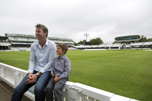 Brett Lee and Isaac Easton (6 years old, Cochlear implant user, profoundly deaf) sharing some laughs at Lords ...