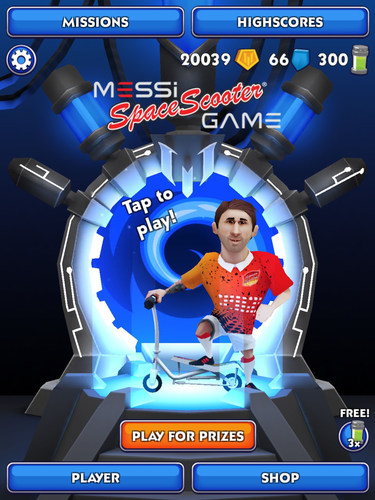Start screen of the Messi Space Scooter Game (PRNewsFoto/Space Scooter) (PRNewsFoto/Space Scooter)