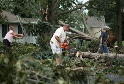 Using outdoor power equipment safely is important when cleaning up after a storm, says the Outdoor Power Equipment Institute (OPEI). (PRNewsFoto/Outdoor Power Equipment Inst.)