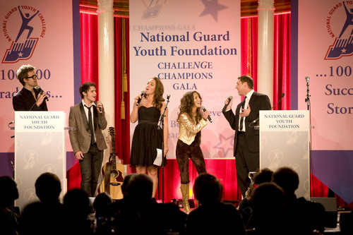 Celebrity performers Tyler Hilton, Kris Allen, Nicole Pollard, Laura Bryna and Kenny Bishop at the 6th Annual ChalleNGe Champions Gala on Tuesday evening. Images created by Washington Photo.  (PRNewsFoto/National Guard Youth Foundation, Washington Photo)