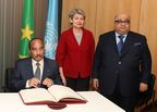 From left to rightMohamed OULD ABDEL AZIZ, President of the Islamic Republic of MauritaniaIrina BOKOVA, Director-General of UNESCO Mohamed Bin Issa Al Jaber, UNESCO's Special Envoy, President of the MBI Al Jaber Foundation