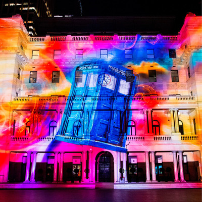 Doctor Who celebrates its 50th Anniversary at Vivid Sydney, the Southern Hemisphere's biggest festival of light, music and ideas, with a special 3D-mapped projection on Customs House at Circular Quay.  (PRNewsFoto/Vivid Sydney)