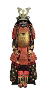 Composite armor with bust in two parts and laced in red silk, second quarter of the 16th century and first half of the 18th century. Steel, copper alloy, silver, gilded copper, ivory, Asian water buffalo horn, wood (Japanese foxglove), silk, lacquer, and silk brocade, 63 x 23 5/8 x 23 5/8 in. Collection of Museo Stibbert