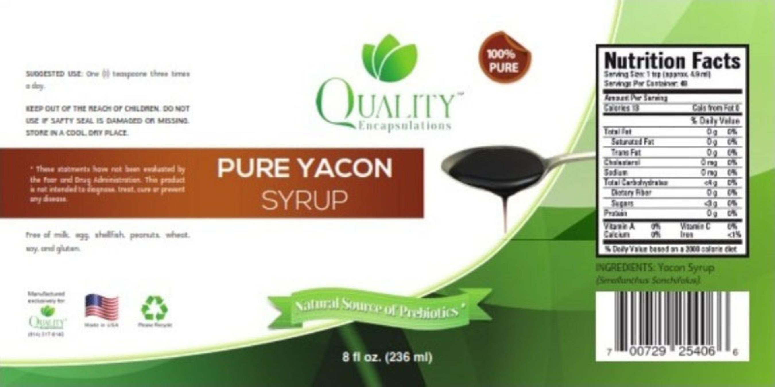 Quality Encapsulations Yacon Syrup label. (PRNewsFoto/Quality Encapsulations) (PRNewsFoto/QUALITY ...