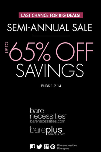 BARE NECESSITIES LAUNCHES END-OF-YEAR SEMI-ANNUAL SALE. (PRNewsFoto/Bare Necessities) (PRNewsFoto/BARE NECESSITIES)