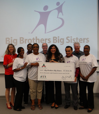 Big Brothers Big Sisters' Earnestine Sandoval accepting donation from ACE's Division Vice President Doug Merrill, Region Vice President Dan Tharp and ACE center managers and district managers.  (PRNewsFoto/ACE Cash Express)