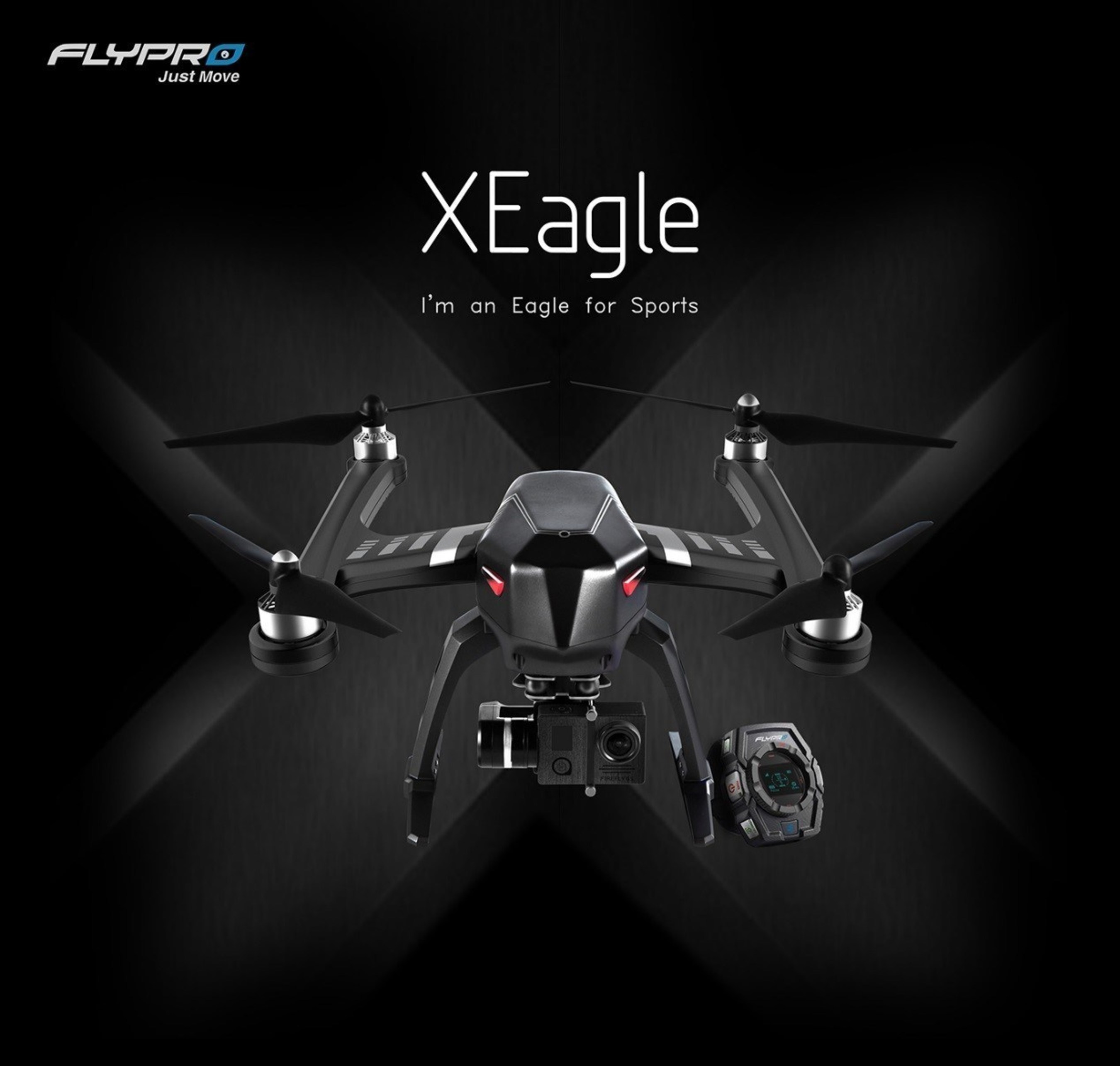 The XEagle, the industry's first smart watch-controlled drone with auto follow and obstacle avoidance functionality
