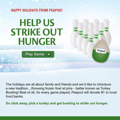 PEAPOD, THE COUNTRY'S LEADING ONLINE GROCER, LAUNCHES HOLIDAY TURKEY BOWLING GAME TO HELP STRIKE OUT HUNGER.  (PRNewsFoto/Peapod)