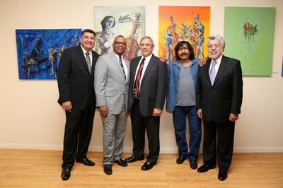 From Left to Right: Walter Rodriguez, Manager of Diversity and Community Relations, Hyundai Motor America, Zafar Brooks, Director of Corporate Responsibility and Diversity, Hyundai Motor America, Humberto Veloso, General Manager, Tamayo Restaurant & Art Gallery, Vladimir Cora, Artist, and David Lizarraga, President & CEO, TELACU, pose for a picture in the Tamayo Restaurant & Art Gallery during the gallery's grand opening in East Los Angeles on Friday, May 6, 2013.  (PRNewsFoto/Hyundai Motor America)