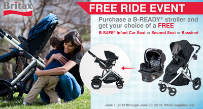 "BRITAX OFFERS BIG SAVINGS WITH ""FREE RIDE"" PROMOTION: Purchase a B-READY stroller and get a free stroller-compatible product.  (PRNewsFoto/BRITAX)"