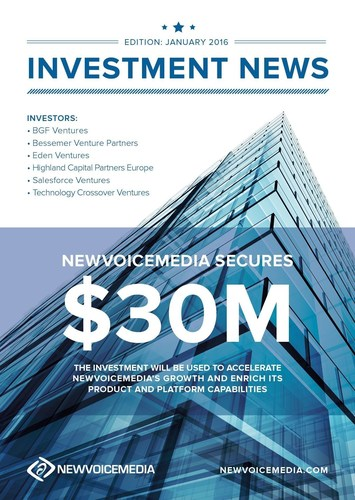 NewVoiceMedia secures $30m investment (PRNewsFoto/NewVoiceMedia) (PRNewsFoto/NewVoiceMedia)