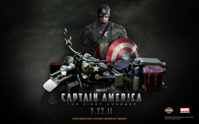 On July 22, two icons of freedom will roll onto the silver screen when Marvel Studios releases Captain America: The First Avenger, who defends freedom and justice for all on a Harley-Davidson(R) WLA motorcycle.  (PRNewsFoto/Harley-Davidson Motor Company)