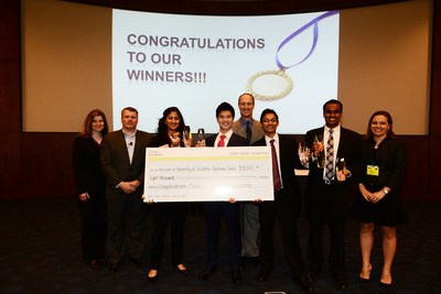 After two months of cyber exercises, USC's team of students took home the top prize at Deloitte Foundation's Cyber Threat Competition.  Eight universities made it to the final round.  Pictured: Kathy Shoztic, Director of Deloitte Foundation, Ed Powers, Managing Partner of Deloitte Cyber Risk Services, Gregg Schmidtetter, Cyber Threat Competition leader, and Emily Mossburg, Cyber Risk Services Resilient practice leader with  USC's Jai Musunuri, Jonas Guan, Priyank Nigam, Anokhy Desa.