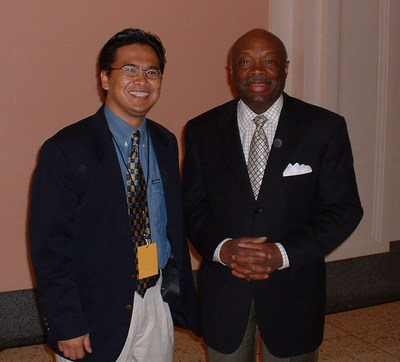 "Golden Gate University Public Administration program Chair and Professor Joaquin ""Jay"" Gonzalez with Willie L. Brown, Jr."
