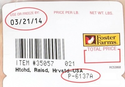 "Fresh retail products involved have a ""Use or Freeze By"" date range of March 21 thru March 29, 2014 (PRNewsFoto/Foster Farms)"