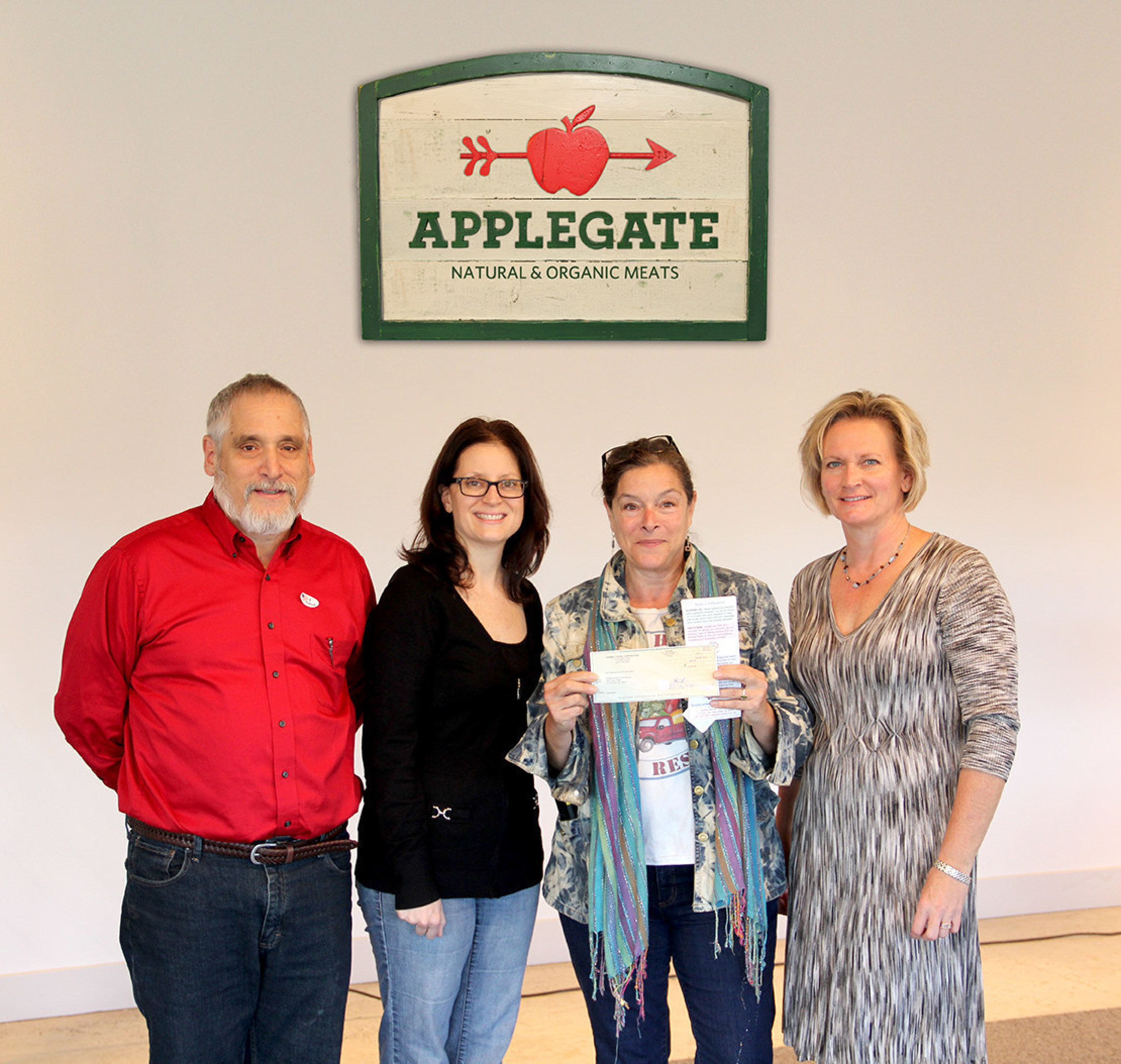 Applegate presents $10,000 donation to Rolling Harvest Food Rescue - Bob Amarant, Applegate Director of Traffic and Logistics, Leah Pires, Applegate Vice President of Human Resources, Cathy Snyder, Rolling Harvest Food Rescue Founder and Executive Director, and Jamie McKnight, Rolling Harvest Food Rescue Program and Development Director.