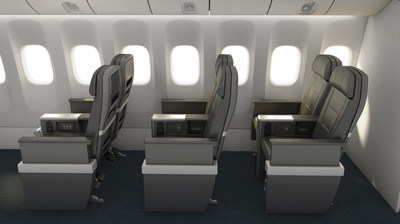 Side view of the American Airlines Premium Economy seats.