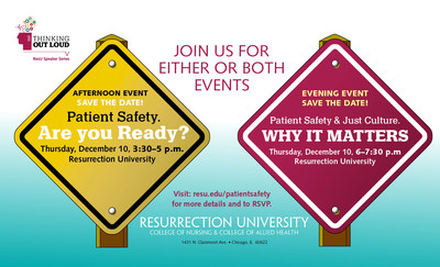 Resurrection University's Thinking Out Loud Speaker Series featuring Senior Advisor to The Hastings Center and national authority on patient safety Rosemary Gibson on Thursday, December 10 in Chicago.