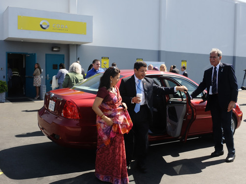 Ambassadors from around the world experienced the all-electric CODA five passenger sedan on the sunny streets ...