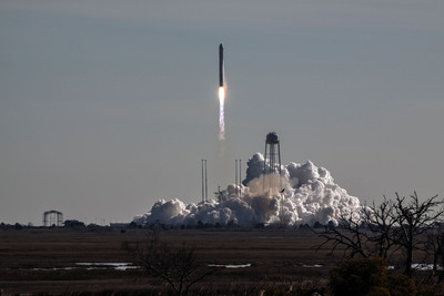 Orbital Sciences' Antares rocket rises from its launch pad at NASA's Wallops Flight Facility on Thursday, carrying the Cygnus cargo capsule into space. This was the first Antares flight to use ATK's upgraded CASTOR 30B upper sage motor.(Orbital Sciences photo).  (PRNewsFoto/ATK)