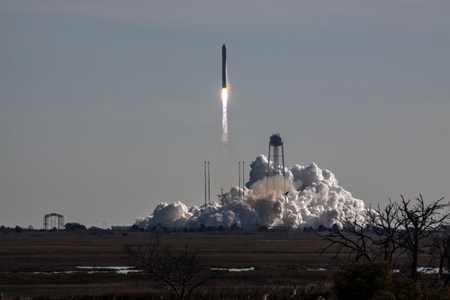 Orbital Sciences' Antares rocket rises from its launch pad at NASA's Wallops Flight Facility on Thursday, carrying the Cygnus cargo capsule into space. This was the first Antares flight to use ATK's upgraded CASTOR 30B upper sage motor.(Orbital Sciences photo). (PRNewsFoto/ATK) (PRNewsFoto/ATK)