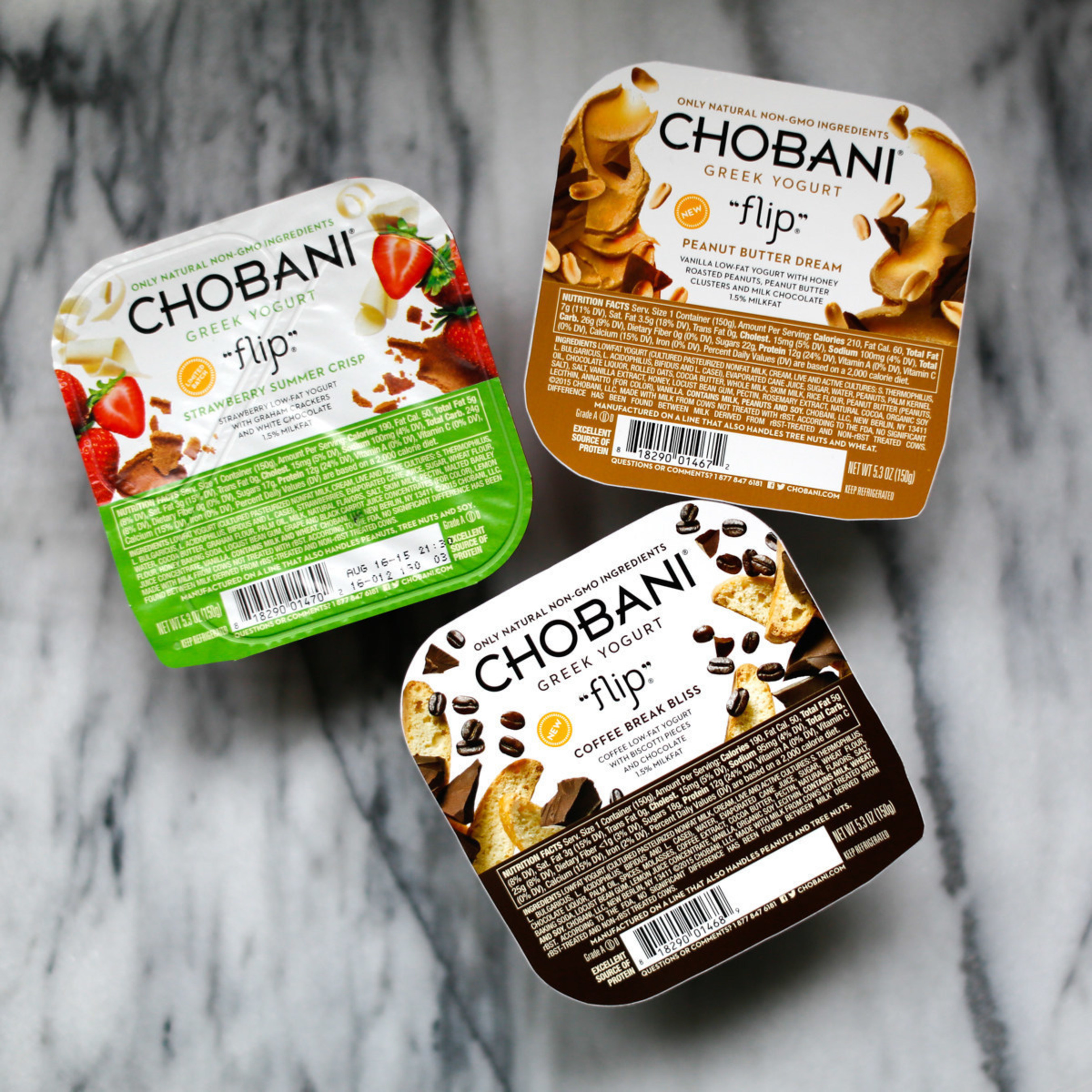 Chobani, America's No. 1-selling Greek Yogurt brand, introduces three new Chobani Flip products as part of its largest portfolio expansion to-date. Introducing Peanut Butter Dream, Coffee Break Bliss and Limited Batch Strawberry Summer Crisp.