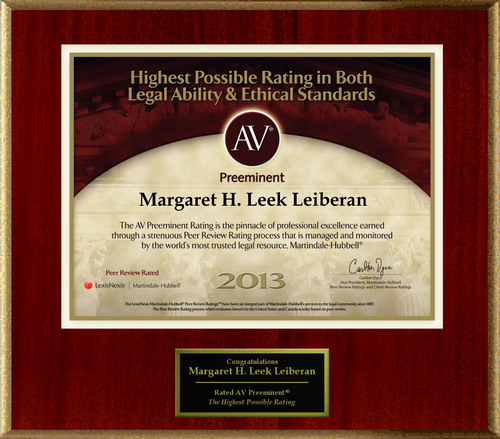 Attorney Margaret H. Leek Leiberan of Jensen & Leiberan has Achieved the AV Preeminent® Rating -