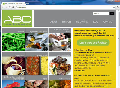 ABCR.com's new homepage easily directs visitors to services relevant to their industry. Pesticide residue testing, menu nutritional labeling, and decomposition analysis are just a few of the many services ABC Research Laboratories offers its visitors.  (PRNewsFoto/ABC Research Laboratories)