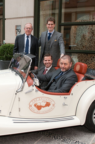 "Actor Nick Offerman poses alongside The Balvenie's Malt Master David Stewart, Brand Manager Andy Weir and Brand Ambassador Nicholas Pollacchi in The Balvenie custom Morgan car outside The Crosby Hotel on April 10, 2012 at the documentary premiere of ""Handmade: A Celebration of Craftsmanship presented by The Balvenie"" in New York City.  (PRNewsFoto/The Balvenie)"
