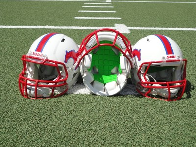 SMU Football is First Division I Program to Partner with Unequal for Head Protection. Pictured: Unequal Gyro in helmet (PRNewsFoto/Unequal Technologies)