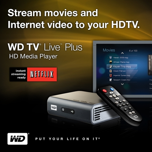 New WD TV(R) Live Plus HD Media Player With Netflix.  (PRNewsFoto/Western Digital Technologies)
