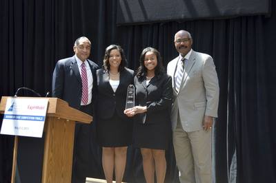 Jeffrey G. Webster of ExxonMobil (l), and Ronald C. Parker of The Executive Leadership Foundation (r) join Crystal Moore and Erica Jones, second year MBA candidates from The Fuqua School of Business at Duke who took first place in The Executive Leadership Foundation's (ELF) 2013 Business Case Competition. The competition focused on developing workforce talent with skills in science, technology, engineering and math (STEM) disciplines.  (PRNewsFoto/Executive Leadership Council)