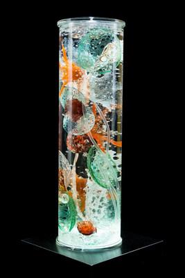"""Orange Star Sea Core, glass, 7"""" x 7"""" x 24"""""""