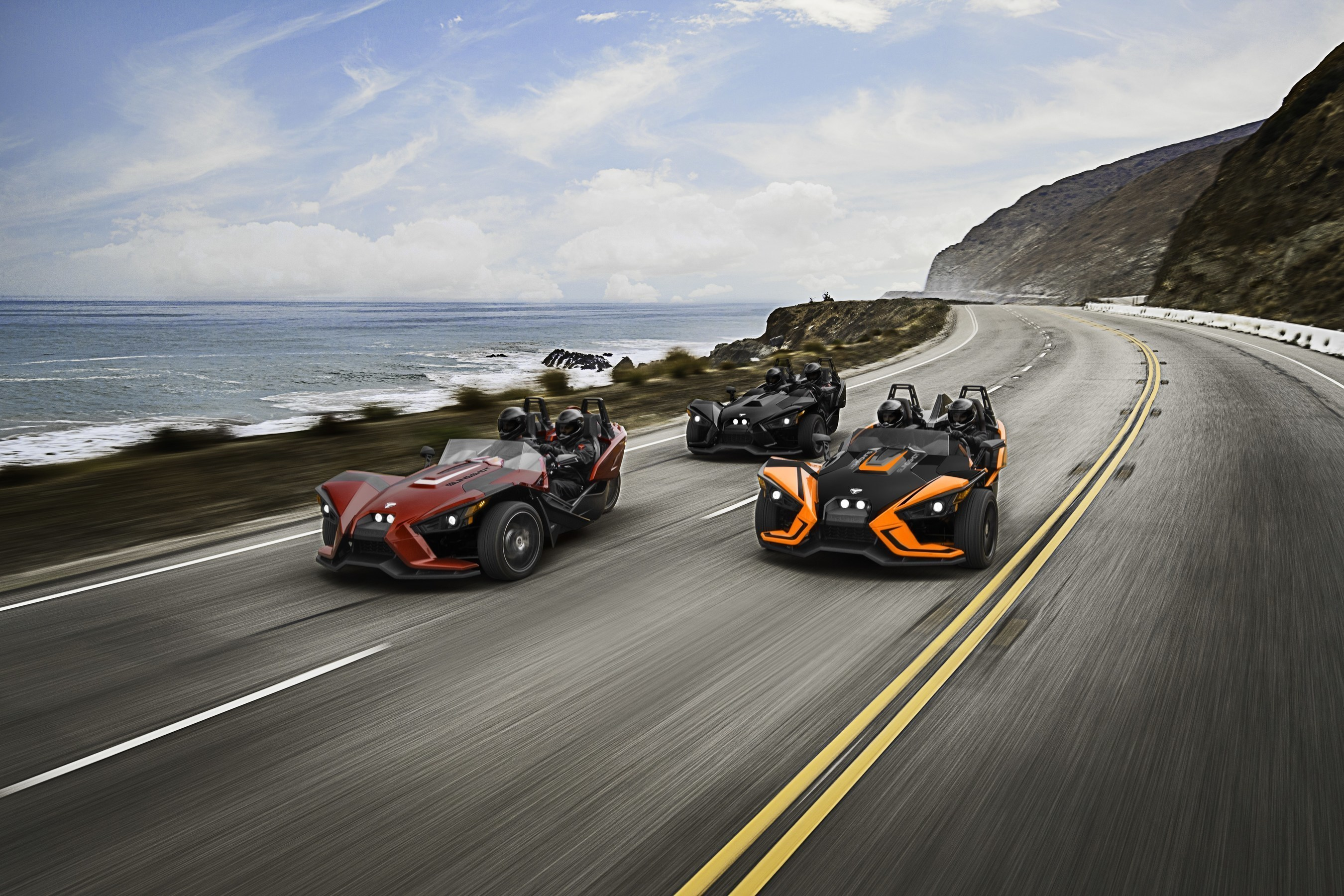 The 2017 Polaris Slingshot SL model features a clear Ripper Series wind deflector, new accent hood graphics, cut-and-sew seats and a premium Rockford Fosgate speaker system, in addition to the currently available standard SL features. The Slingshot SLR builds on the Slingshot's strong foundation with full-body graphics, premium forged-aluminum wheels, an interior LED lighting kit and more.