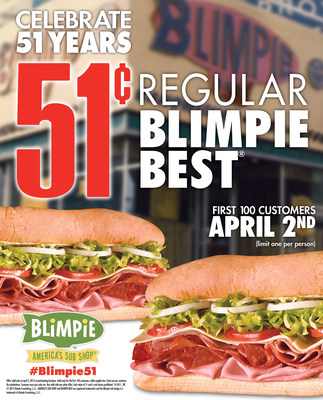 Blimpie Celebrates 51 Years w/ 51 cent Sub!