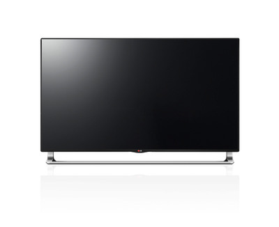 LG Electronics' newest Ultra HD TV series (model LA9700), which is available in 65- and 55-inch class sizes,  went on sale for the first time in the United States July 11 at Video & Audio Center in Santa Monica, Calif., for a suggested retail price of $7,999.99 and $5,999.99, respectively.  These are the first Ultra HD models in these screen sizes with full-backlit LED screens.  (PRNewsFoto/LG Electronics USA, Inc.)