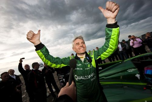 Lord Paul Drayson celebrates beating the FIA World Land Speed Record (PRNewsFoto/Drayson Racing Technology LLP)