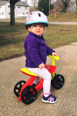 Children should always wear a helmet before getting on a bike, trike, skateboard or anything else they could fall off of and bump their head.