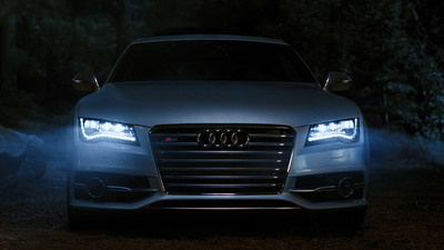 Audi to highlight signature LED headlights on 2013 Audi S7 in upcoming Super Bowl ad.  (PRNewsFoto/Audi of America, Inc.)