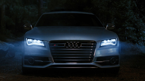 Audi to highlight signature LED headlights on 2013 Audi S7 in upcoming Super Bowl ad.  (PRNewsFoto/Audi of ...