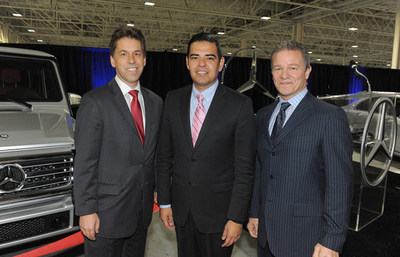 Dietmar Exler, Vice President of Sales, MBUSA; Robert Garcia, Mayor of Long Beach; Steve Cannon, President and CEO, MBUSA attend the Grand Opening Celebration for Mercedes-Benz West Coast Campus.
