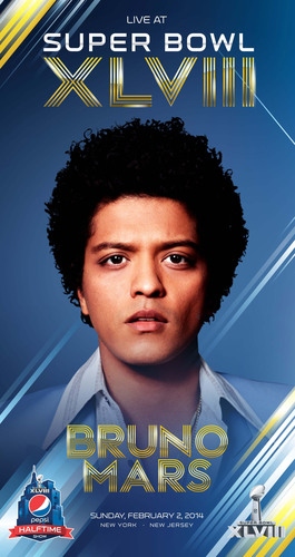 Grammy-award winner Bruno Mars will perform at the Pepsi Super Bowl XLVIII Halftime Show on February 2, 2014.  (PRNewsFoto/PepsiCo)
