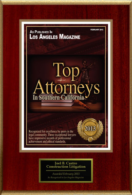Attorney Joel B. Castro Selected for List of Top Rated Lawyers in CA.  (PRNewsFoto/American Registry)