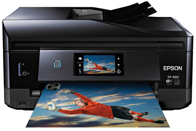 "Ideal for families and photo enthusiasts, the Epson Epson(R) Expression(R)  Photo XP-860 Small-in-One(TM) printer outputs stunning, professional-quality photos with smooth gradations and amazing skin tones - up to 8"" x 10"" borderless - with six-color Claria(R)  Photo HD inks. This printer is also equipped with Epson Connect(TM) for the ability to access, print and scan documents, photos, emails and web pages from a tablet, smartphone or computer from literally anywhere in the world. Plus, edit, scan and share photos directly to Facebook(TM) or other popular cloud services all in one single workflow. (PRNewsFoto/Epson America, Inc.)"
