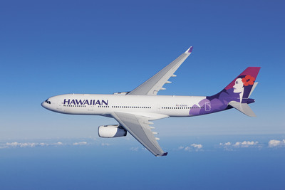 Hawaiian's new Airbus A330-200 aircraft seat 294 passengers and offer the comforts of a spacious interior, new generation seats with increased legroom, and a state-of-the-art, on-demand entertainment system in every seatback.  (PRNewsFoto/Hawaiian Airlines, Chad Slattery)