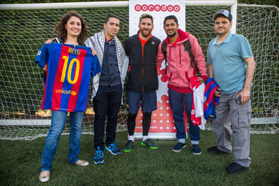 Leo Messi meeting Ooredoo's Stand For Good Winners