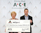 ACE Cash Express CEO Jay Shipowitz presenting NBCF Founder Janelle Hail with $583,411.07 donation.  (PRNewsFoto/ACE Cash Express, Inc.)