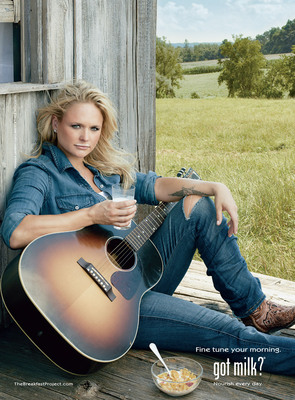 Miranda Lambert Kicks off CMA Awards with New Milk Mustache Ad.  (PRNewsFoto/MilkPEP)