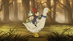 Wirt (voiced by Elijah Wood), Greg (voiced by Collin Dean) and Beatrice (voiced by Melanie Lynskey) journey through the woods in the upcoming mini-series Over the Garden Wall. *Artwork from the award-winning short film Tome Of The Unknown on which the mini-series is based.  (PRNewsFoto/Cartoon Network)